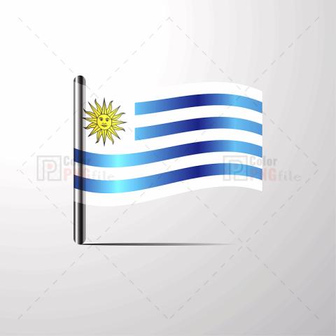 Uruguay Waving Shiny Flag Design Flag Design Flyer Template Free Png