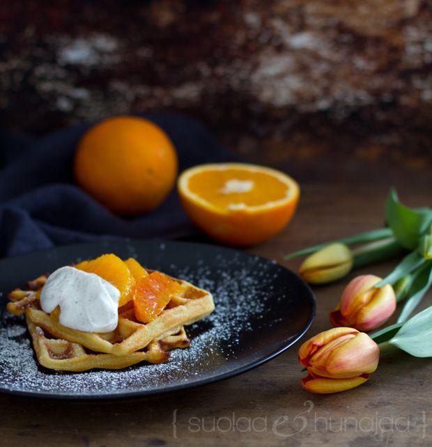 Orange waffles and blood orange salad