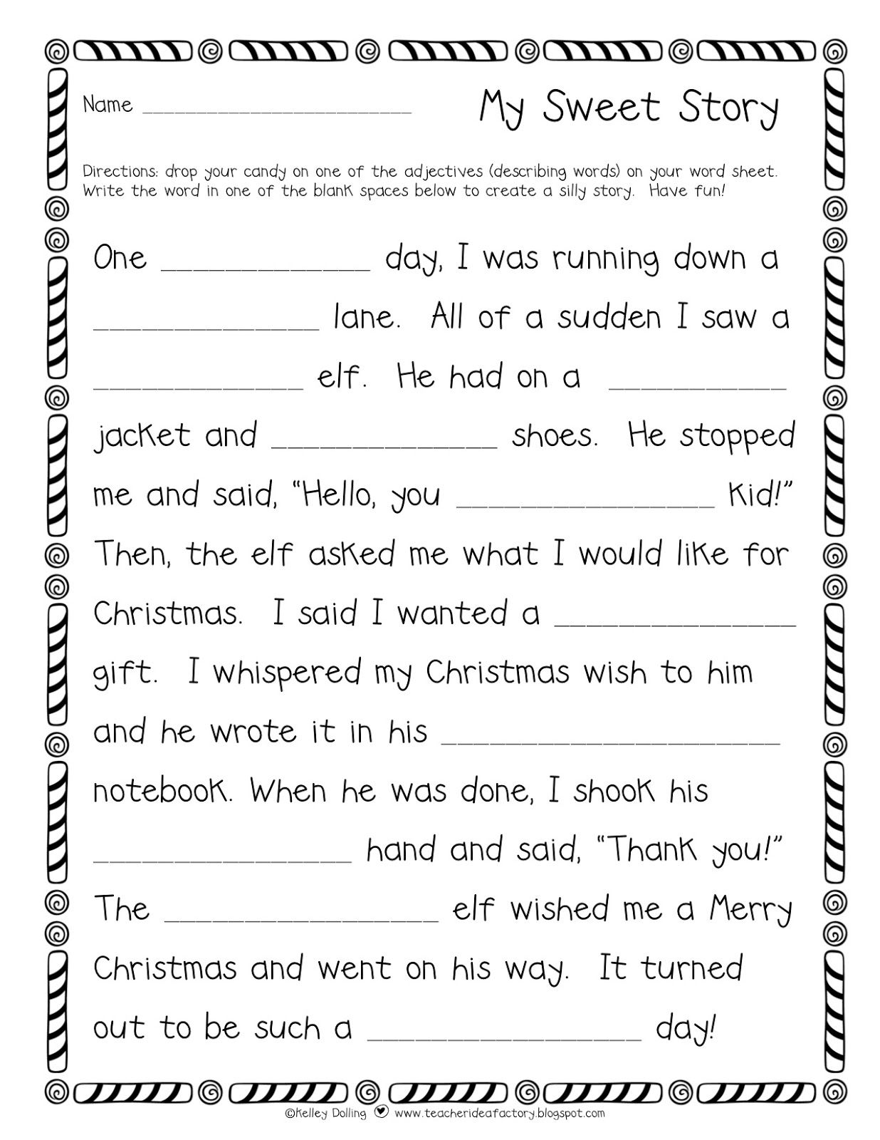 Teacher Idea Factory My Sweet Story A Holiday Flavored Freebie