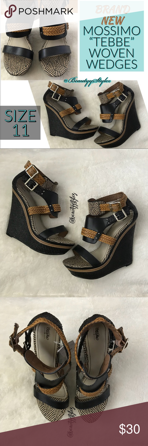 bf9208694 New Mossimo Black Brown TEBBE Woven Wedges Size 11 BRAND NEW WITH TAGS‼️