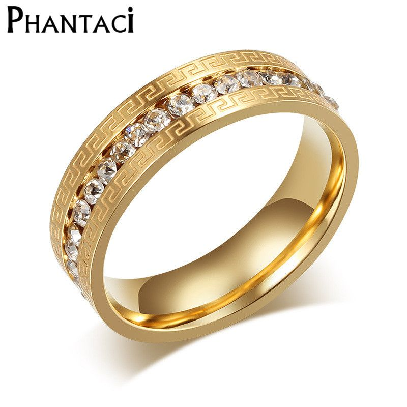 Gold Color Crystal Wedding Rings For Women Stainless Steel Great Wall Design Imitation Party