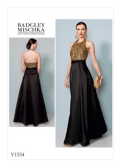 V1534 | Pinterest | Vogue patterns, Floor length dresses and Halter neck
