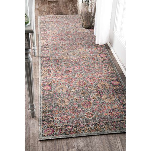 Khalil Pink Gray Area Rug With Images Area Rugs Grey Area Rug