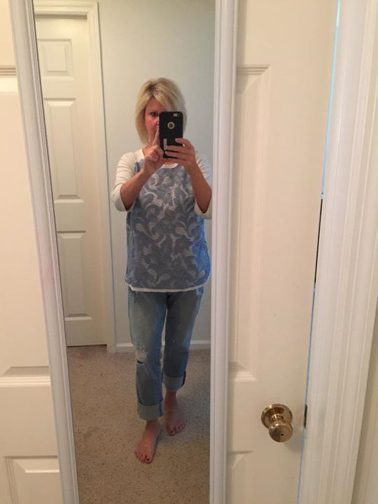Sweet Gray Carlisle Mixed Material Top Stitch Fix