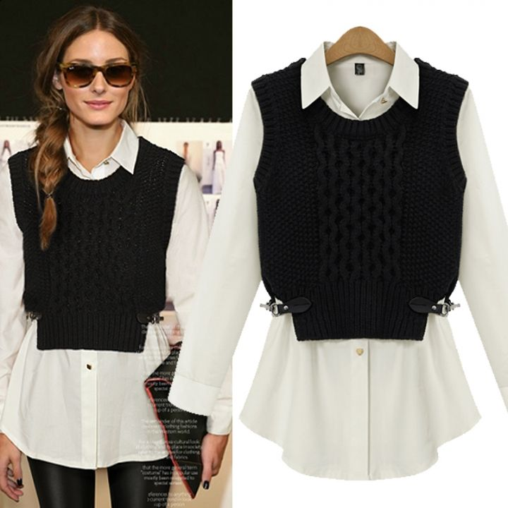 24e549010cc4 Two Pieces Stylish Women White Blouse With Black Sweater Vests ...