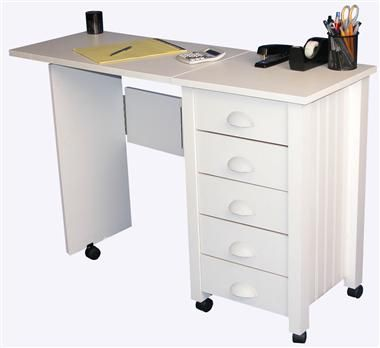 Amazing Mobile 5 Drawer Folding Desk U0026 Craft Table In White Finish