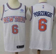 5b20750e964 Men's Nike New York Knicks #6 Kristaps Porzingis White NBA Swingman  Hardwood Classics Jersey