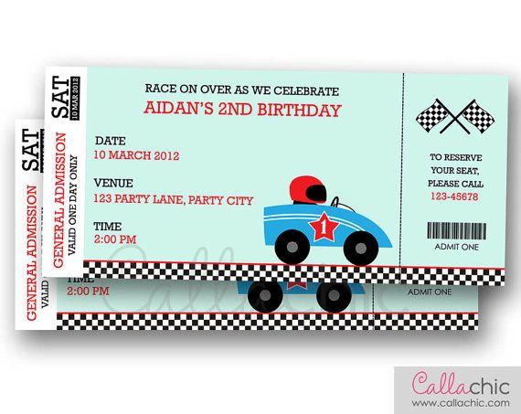 Race Car Ticket Invitation PRINTABLE - Boy Grand Prix Birthday - ticket invitation
