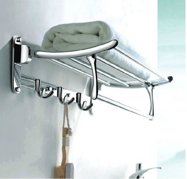 Chrome Towel Racks Shelf with Hooks and Towel Bar, great for a guest bathroom or small space