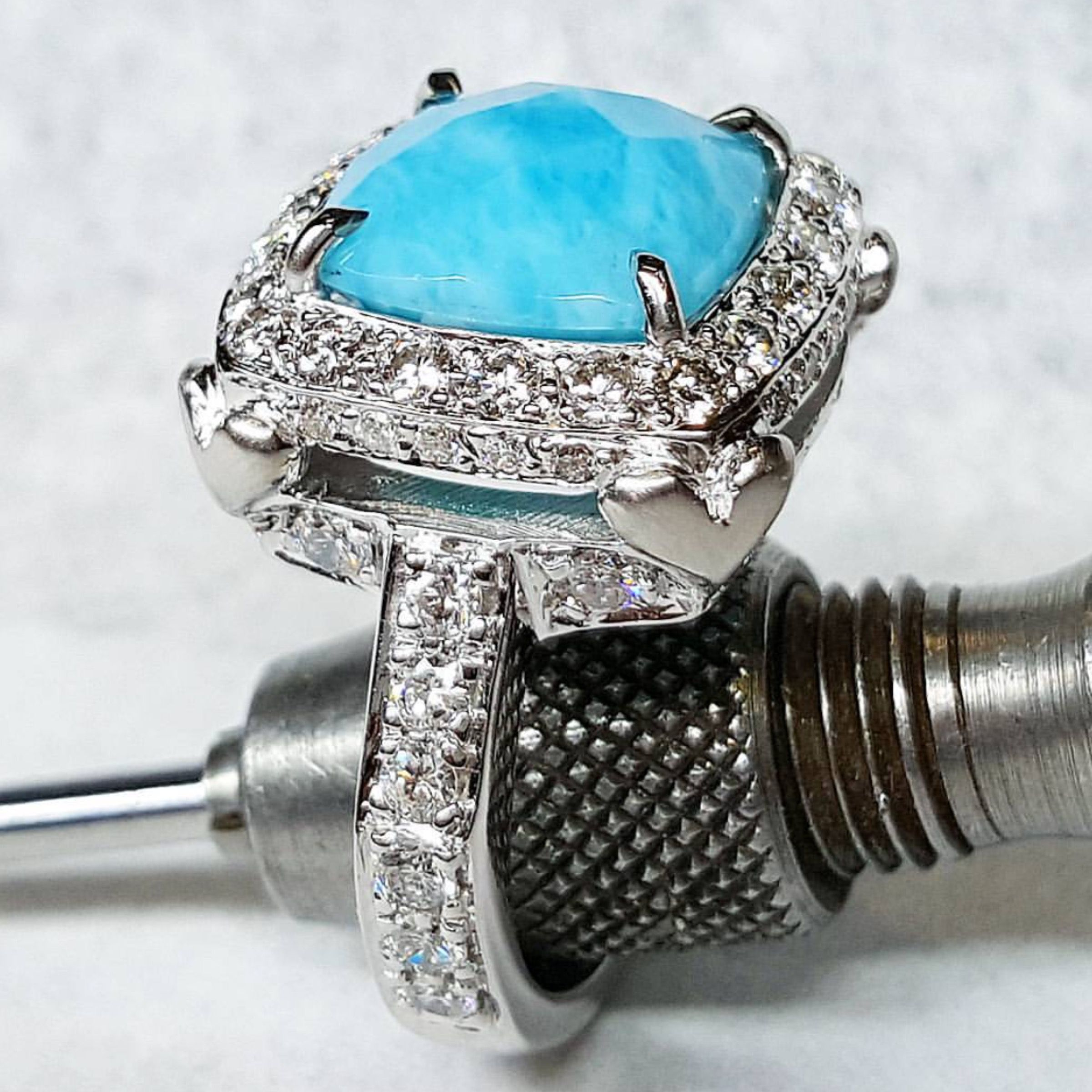 Larimar And Diamonds Engagement Ring In 18kt White Gold Larimar Engagement Ring White Gold Engagement Rings White Gold Rings