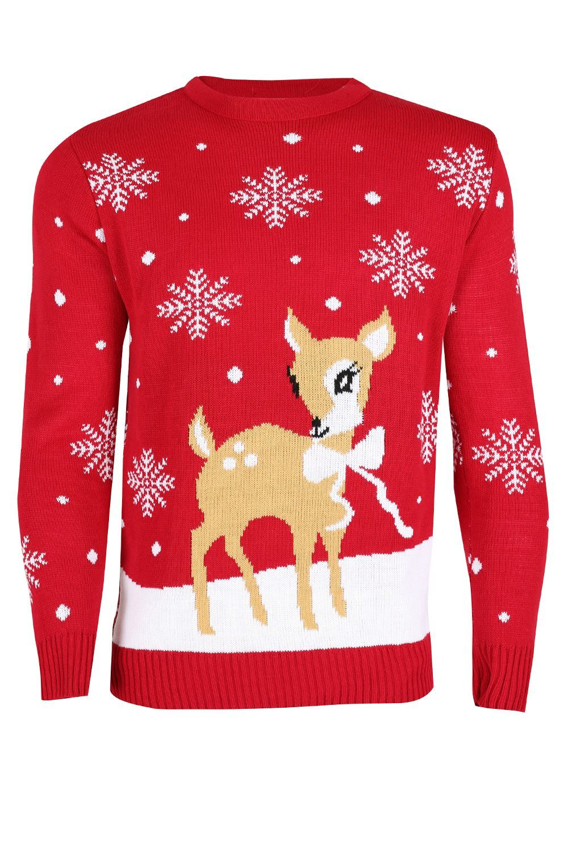 044fc0a0585 Vánoční svetr Bambi červený