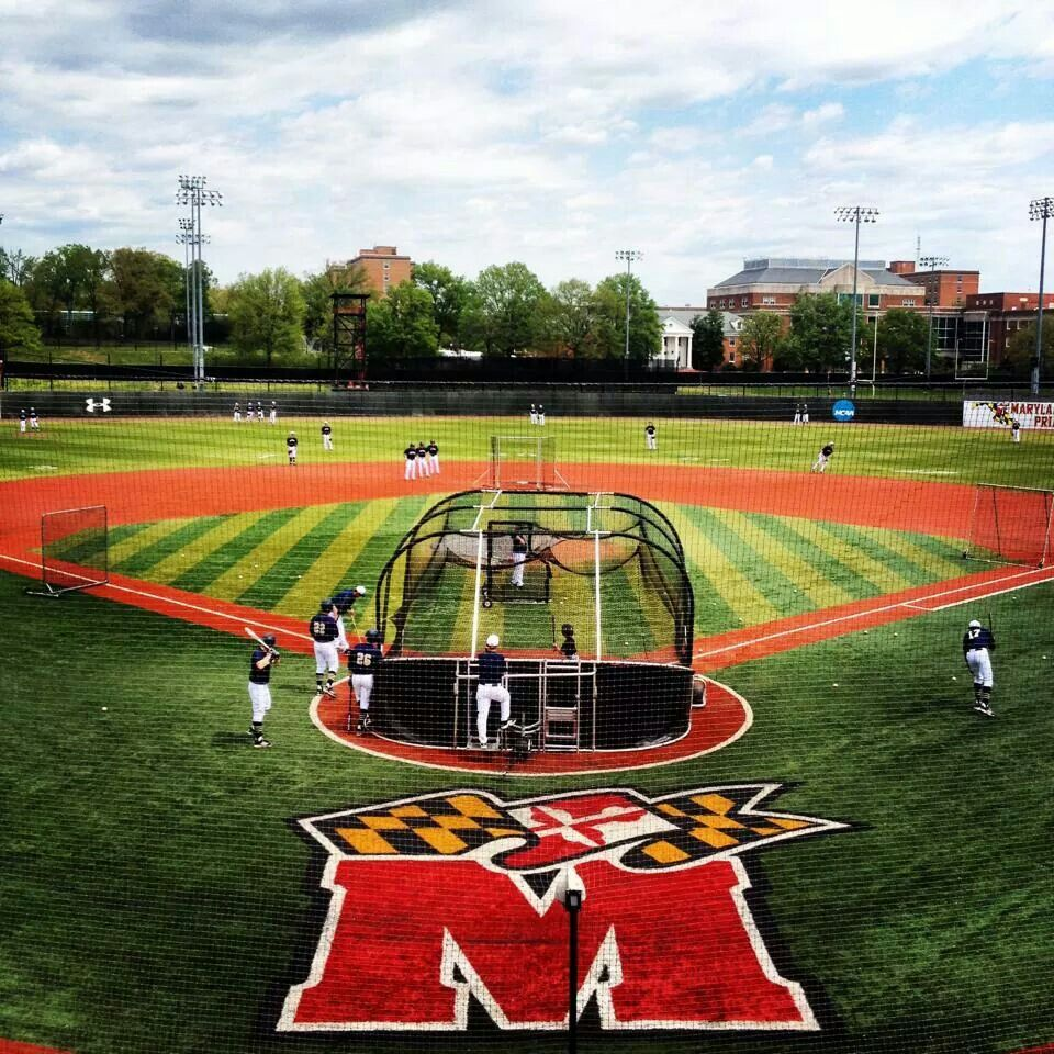 Pin By Melanie Bowen On Umd College Baseball Basketball Court Baseball