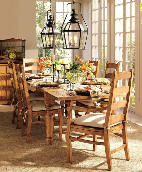 Love The Iron Lanterns Contrasting Metal With Wood Dining Set