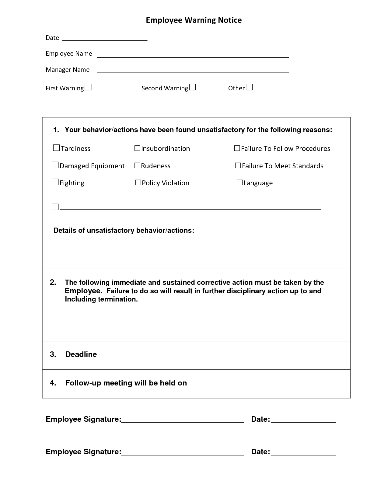 Employee Warning Notice | Employee Forms | Pinterest | Business ...