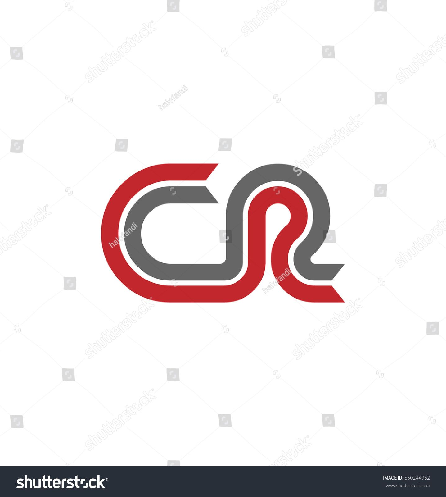 Initial Letter CR Logo with Linked Linear Design Template Red