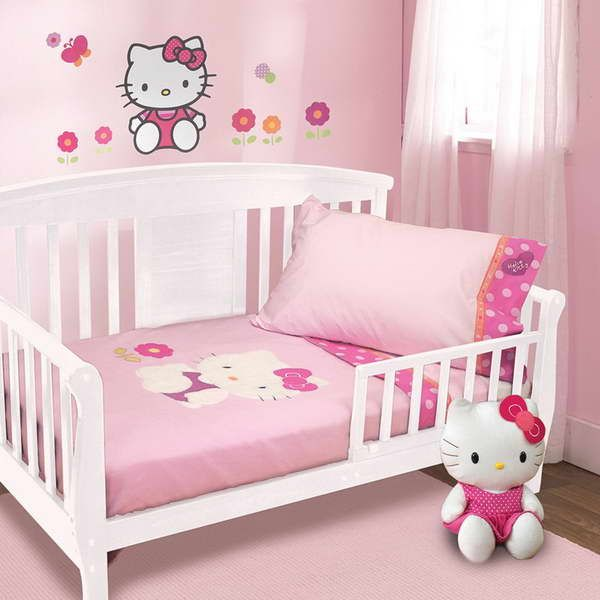Hello Kitty Room Decorations With White Drapery Toddler Bed Set