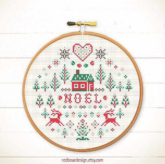 Chart Counted Cross Stitch Pattern Needlework Xstitch Rocky Mountain Christmas