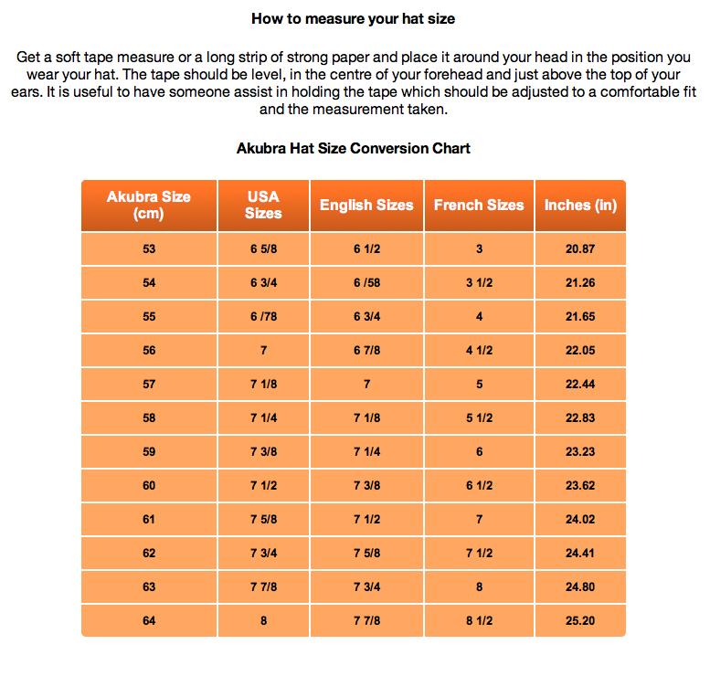Size Chart Australian Gear Online Store Size Chart How To Measure Yourself Australian Hat