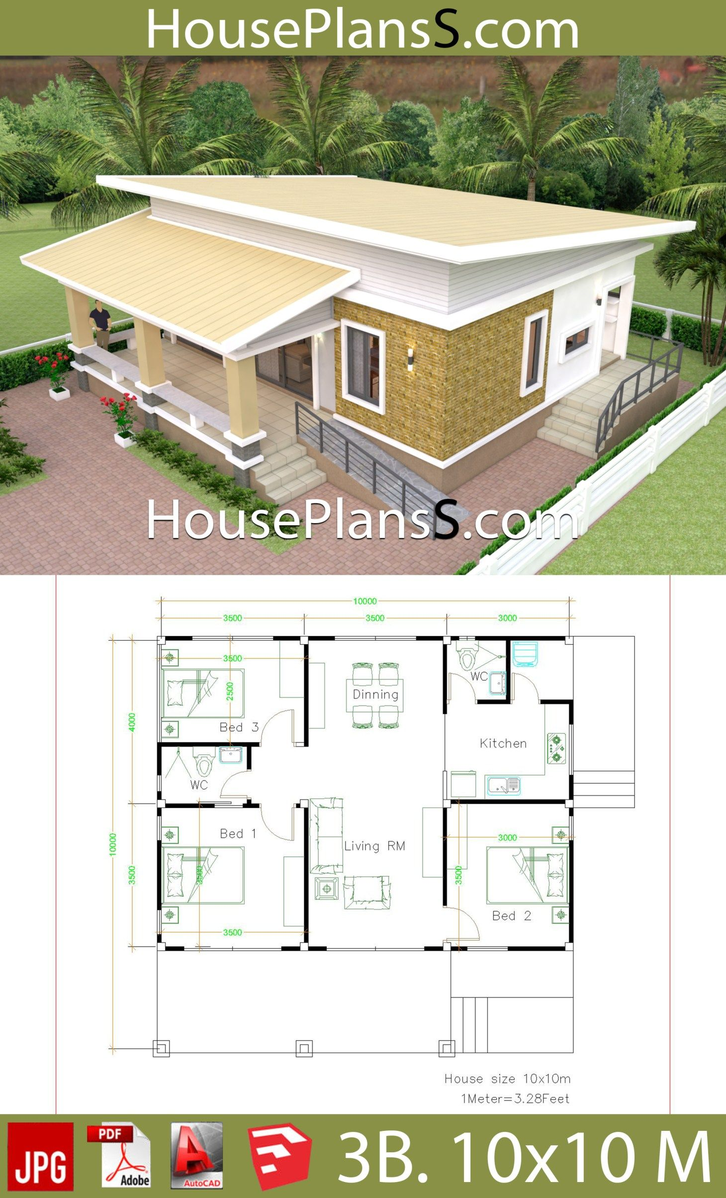 Framing A 10x10 Room: House Design Plans 10x10 With 3 Bedrooms Full Interior ใน