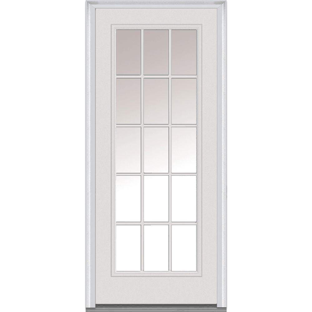 Mmi Door 30 In X 80 In Clear Right Hand Full Lite Classic Primed Fiberglass Smooth Prehung Front Door Z000309r The Home Depot Mmi Door Fiberglass Exterior Doors Exterior Doors With Glass