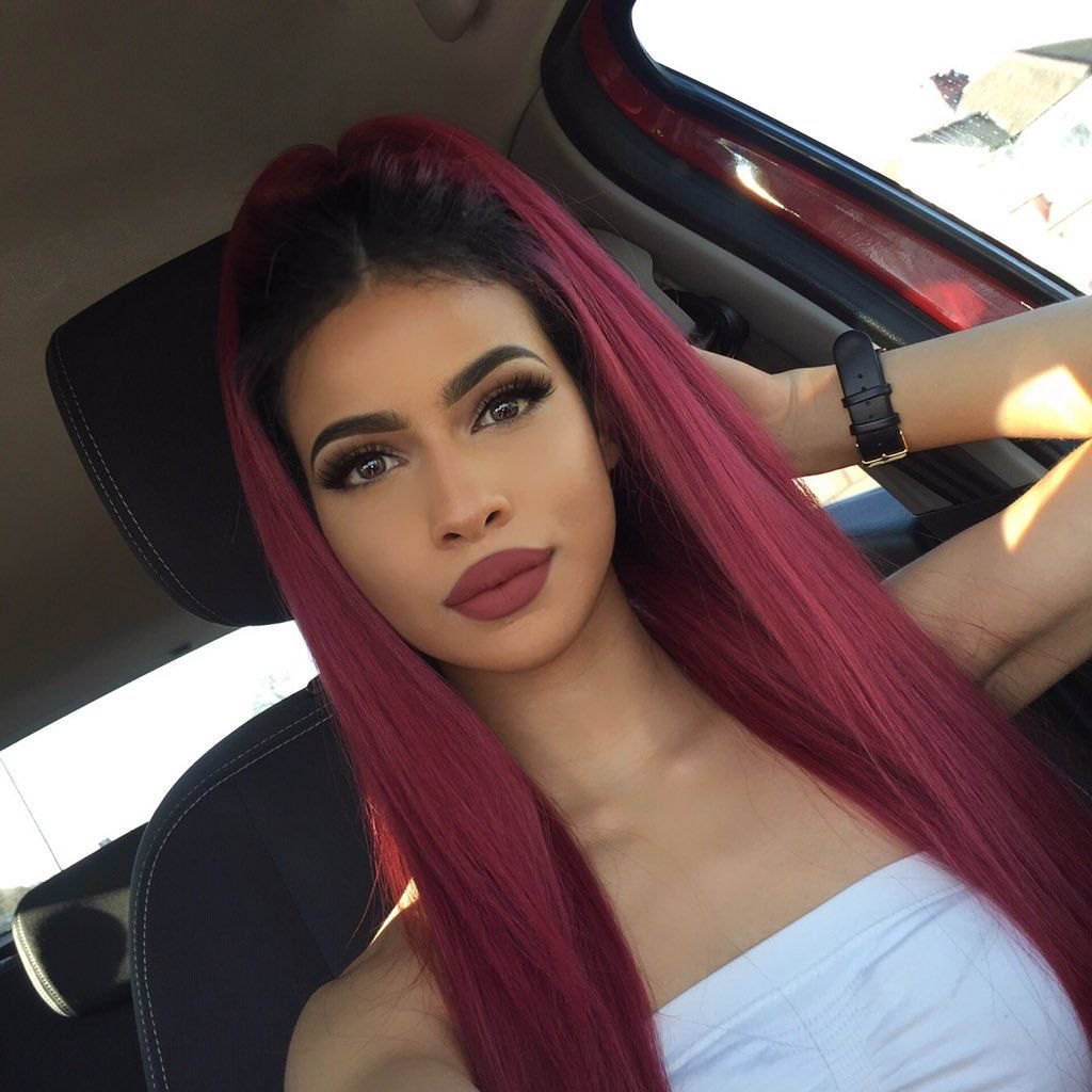 Lemy Beauty Red Hair Black Roots Pinterest Xxifalone Red Ombre Hair Hair Inspo Color Straight Human Hair
