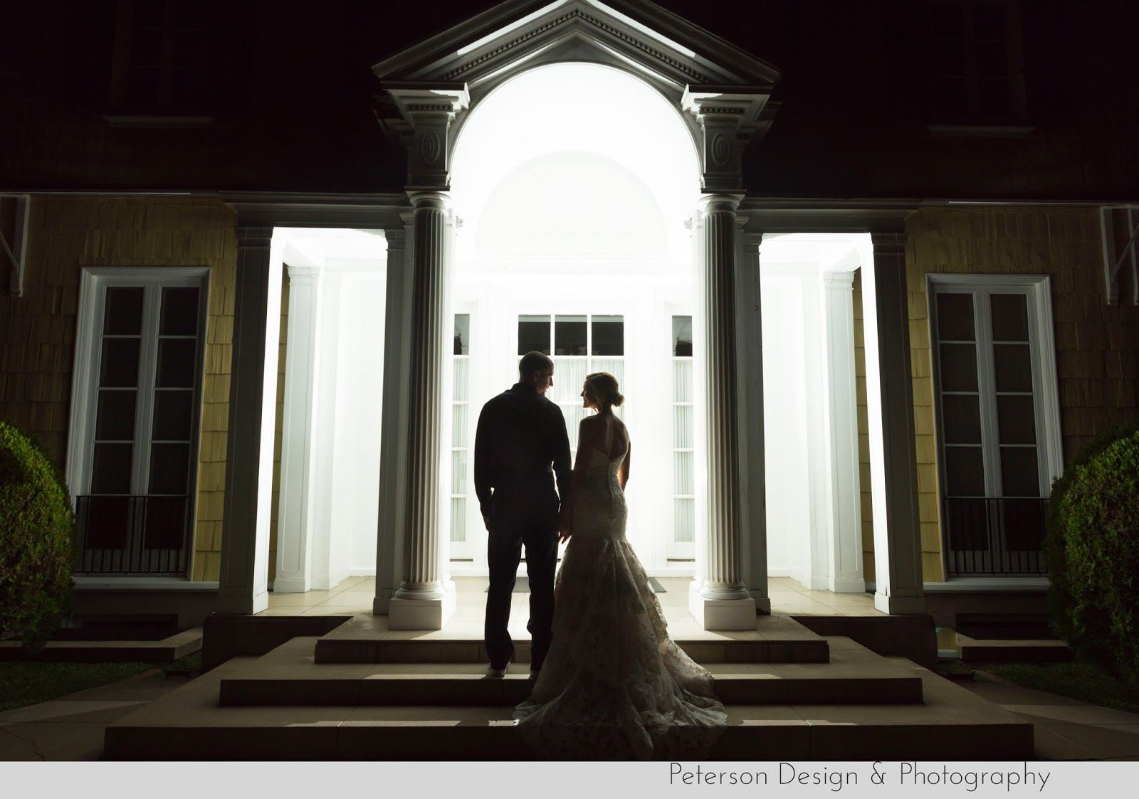 Navy, Gold, Silver, Grey and red Americana wedding at the Lindley-Scott House in Azusa, CA, Bridal party with American flags, dress by @allurebridals and ombre wedding cake, bride and groom Coca Cola bottles end of the night shot, silhohette
