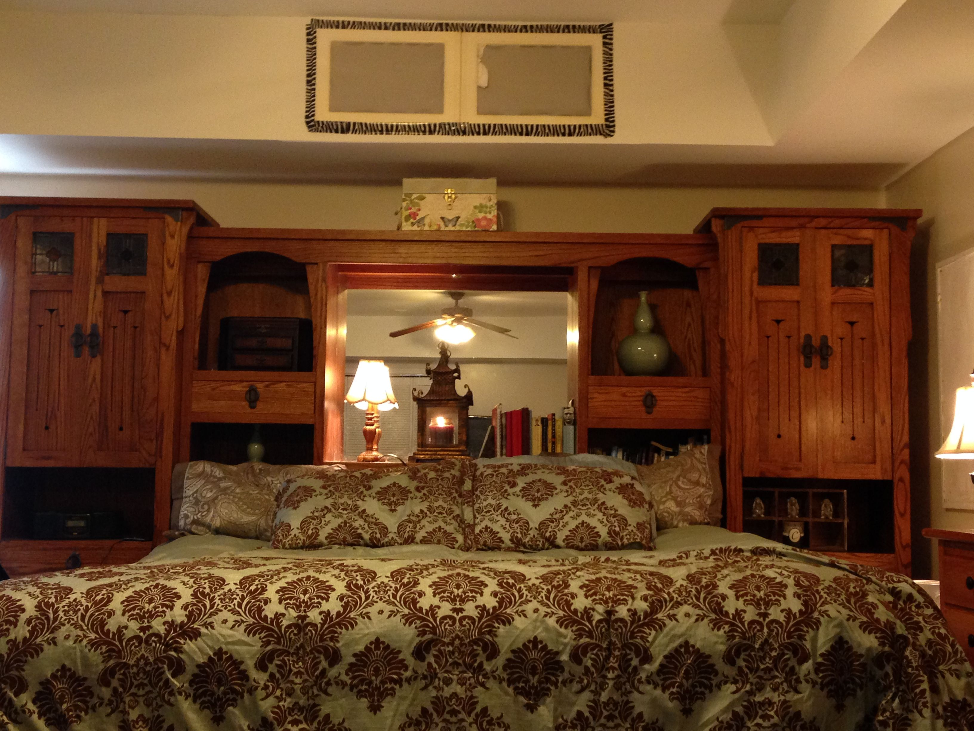 Our massive king headboard. We call it the castle. So much