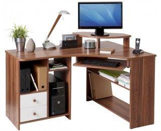 Bureau d\'angle informatique angle droite - TANGA - Noyer   meubles ...
