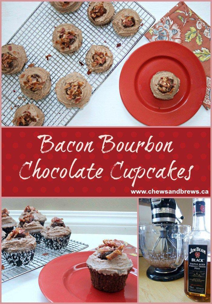 Bacon Bourbon Chocolate Cupcakes ~ www.chewsandbrews.ca