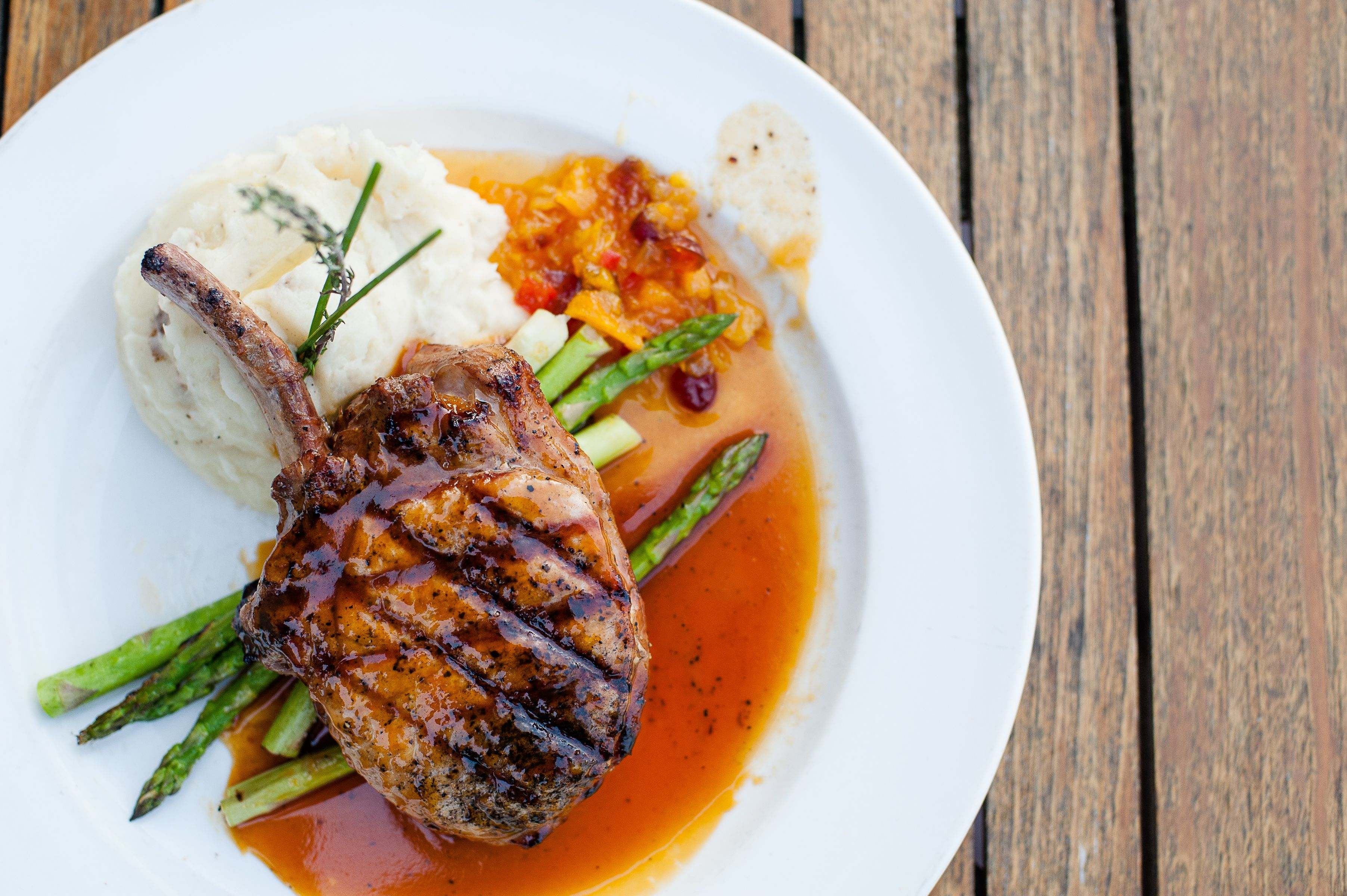 Frenched BoneIn Pork Chop with Apricot Chutney at Porter