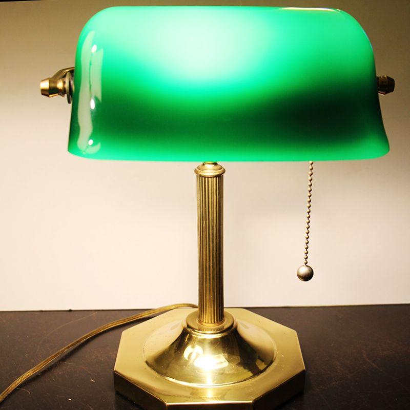 Vintage Banker S Desk Lamp Green Glass Shade Solid Brass Desk Lamp Mercury Glass Lamp Lamp