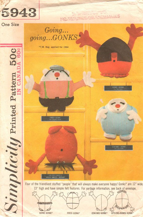 Simplicity 5943 1960s Set of GONKS Pattern Dolls Fred Gone Eskimo ...