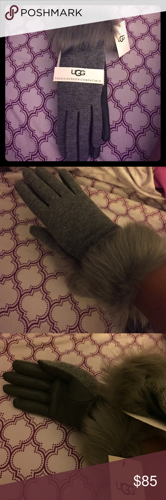 Ugg touch screen compatible gloves These are some really nice and classy with a little sassy gloves with the fur size small.  A nice soft and dark grey with soft leather in the palms.  Not to mention the touchscreen capabilities that allow you to use your smart device while staying warm for the winter! UGG Accessories Gloves & Mittens
