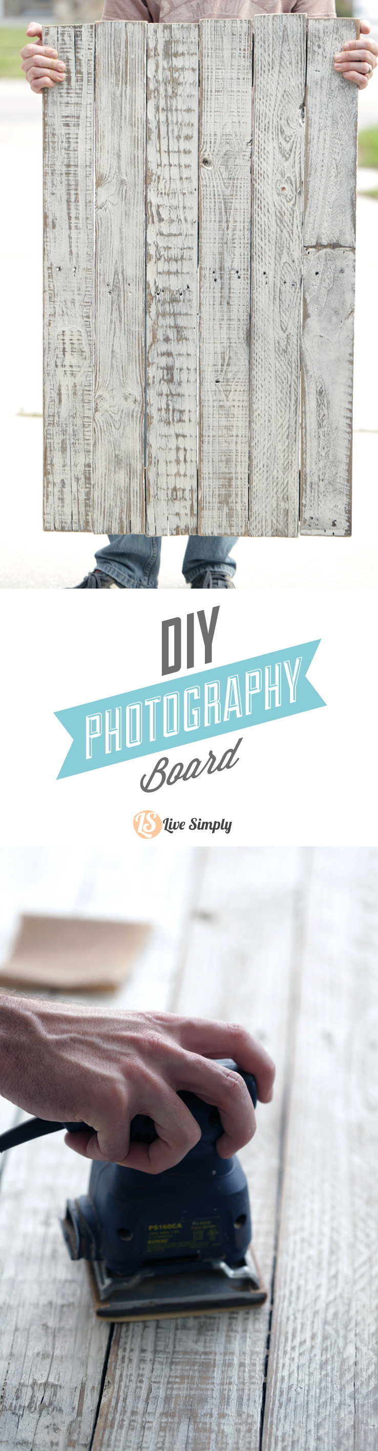 How to make a DIY Photography Board in three simple steps! This tutorial is so easy to follow and produces a gorgeous two-sided photography board! http://livesimply.me/2015/03/13/how-to-make-a-diy-photography-board/