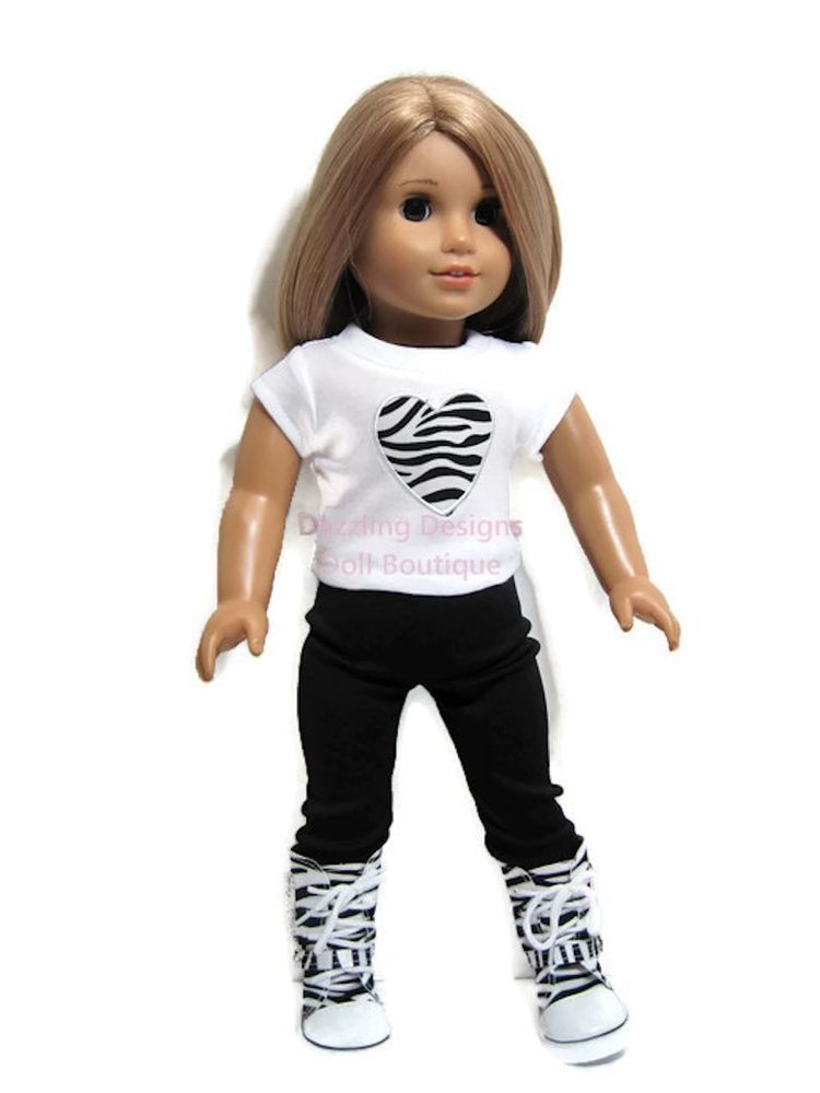 """Zebra Heart Top & Leggings & Boots For 18"""" American Girl Doll Clothes  #Unbranded"""