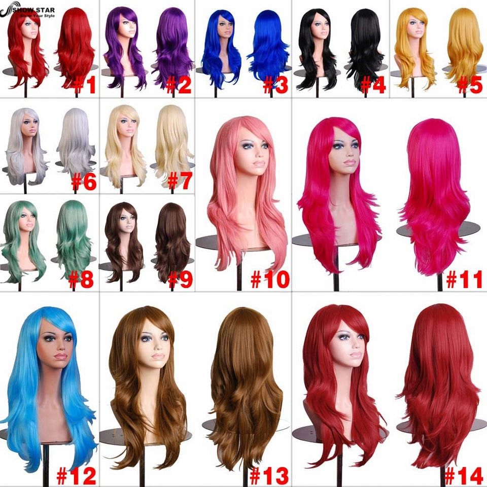 Japanese fashion original red lolita long curly anime cosplay wigs female L57#