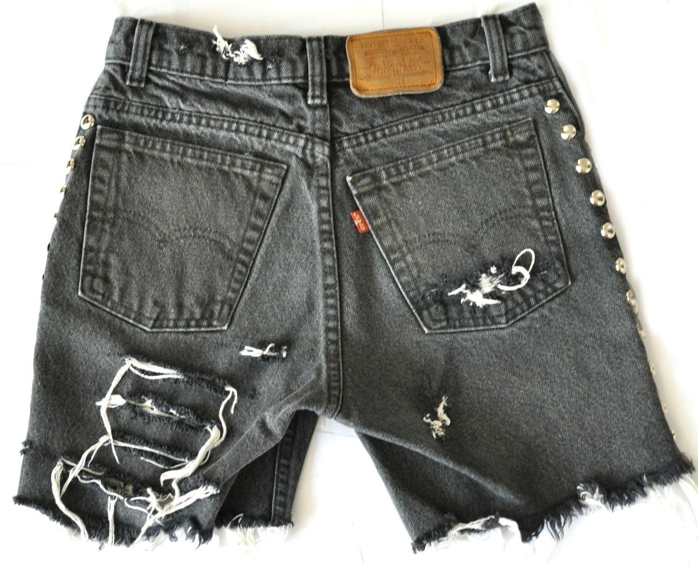 "Vintage High Rise Super Ripped, Studded, Black Bermuda LEVIS Denim Shorts - ""Black Betty"" SMALL. $75.00, via Etsy."