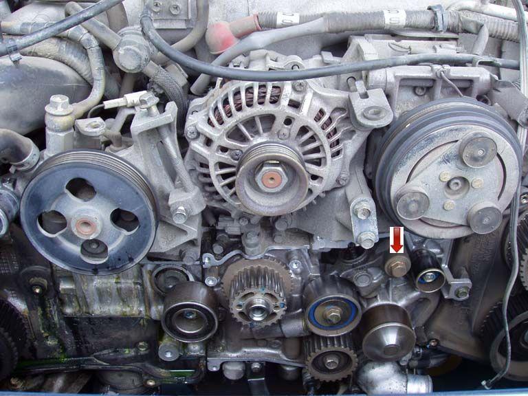 Timing Belt Remove Belt Tensioner. Subaru subaruidiots