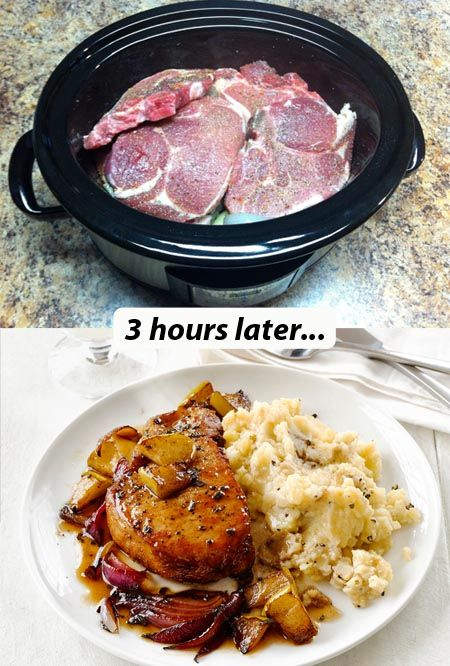 Easy Slow Cooker Pork Chops With Veggies Mashed Potatoes Recipe Hrs On Low 3 Hrs On High