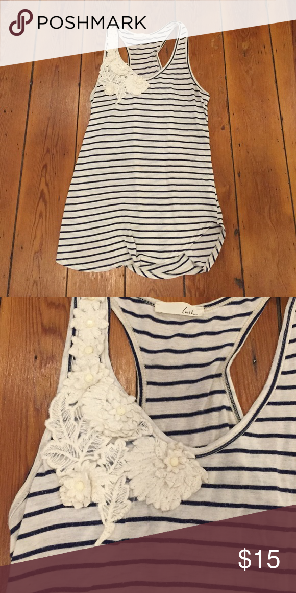 Adorable striped racerback tank! Size M. Blue and white racerback tank by Lush with detailing at right shoulder as shown. 67% rayon, 21% polyester, 12% flex. Lush Tops Tank Tops