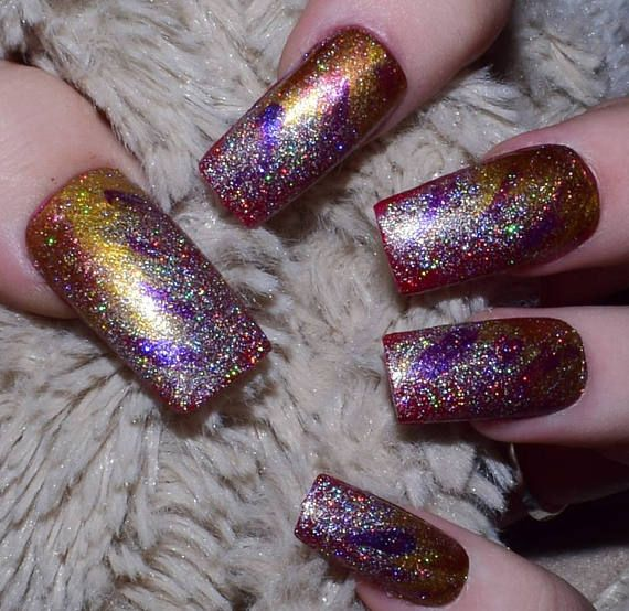 Red Galaxy Fake Nails French Tip Long Straight False Nails | AA ...