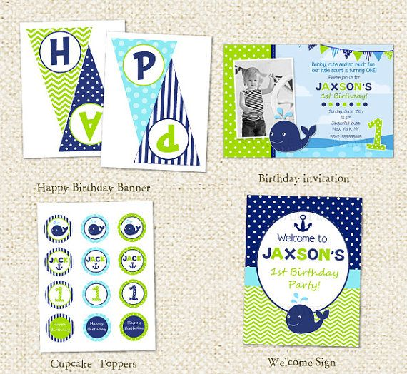 Whale DIY Printable Personalized Birthday Party Package