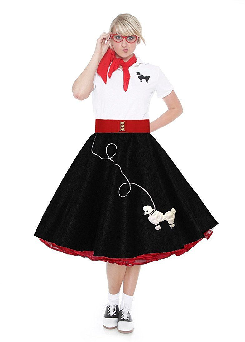 1950s Complete Poodle Skirt Sock Hop Costumes In Black And Red