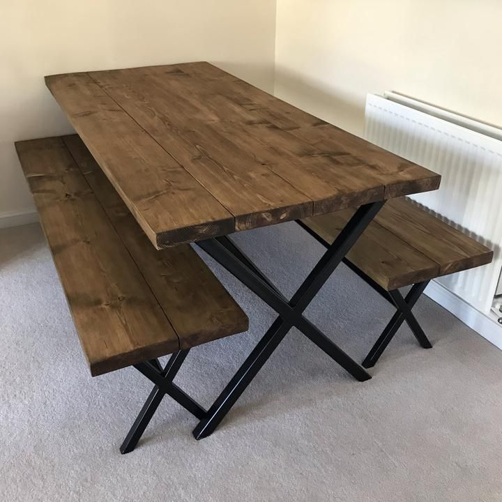 Simple but elegant dining table with benches handcrafted by metal machine. See the website. #homedecor #homeandgarden #homeandliving #homeandfamily #familydinner #family  #familyfriendly #together #togetherathome #rustic #rustichomedecor #dinner #diningroom #diningroomideas #diningroomdecorating #diningroomfurniture #kitchendecor #kitchenideas #diningroomtable #handcrafted #homemade #hertfordshire #metalmachine