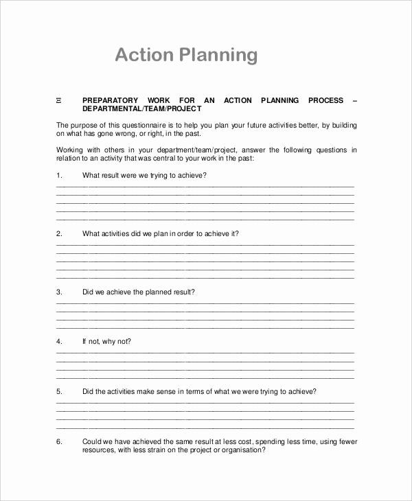 30 Action Plan Template For Managers In 2020