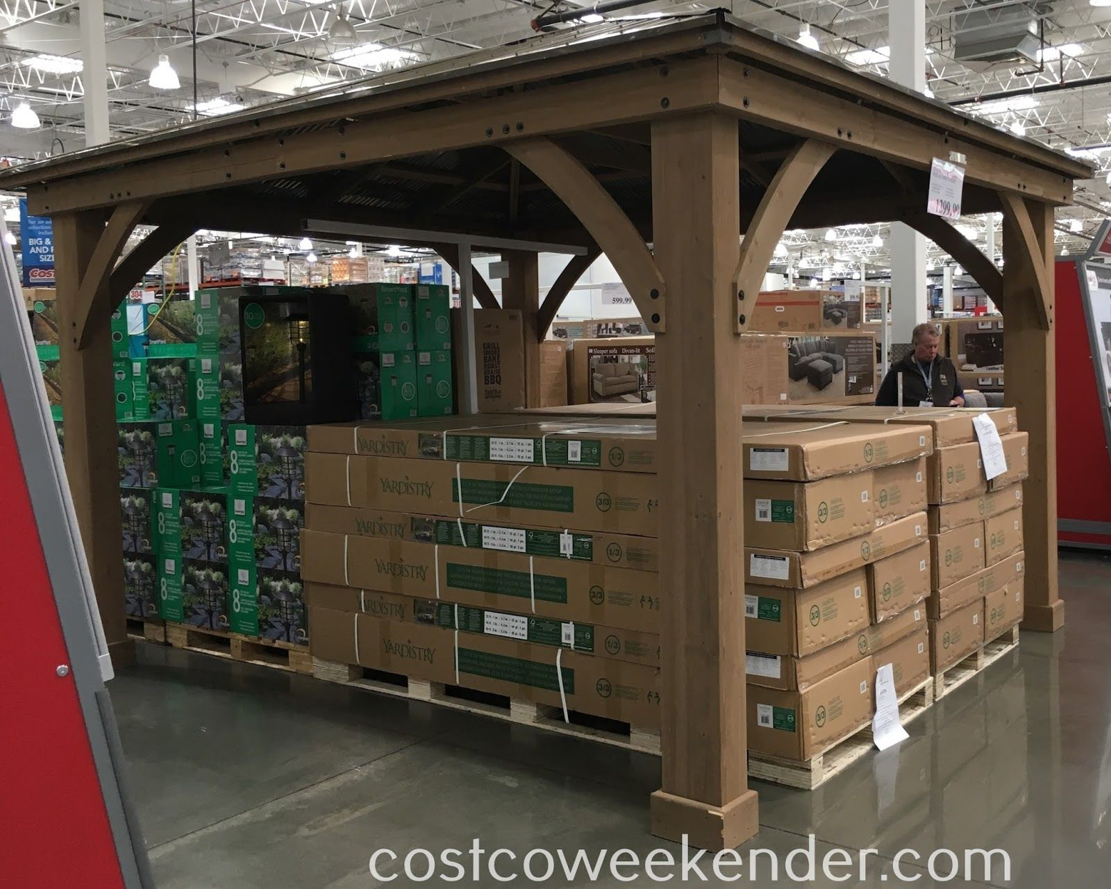 Cedar Wood Gazebo With Aluminum Roof 1212 Costco Gazebo Aluminum Roof Wooden Gazebo