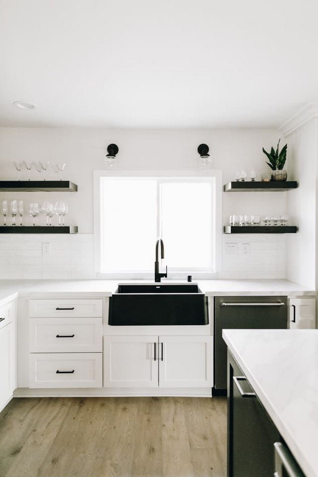 64 farmhouse sink with white and gray marble counter