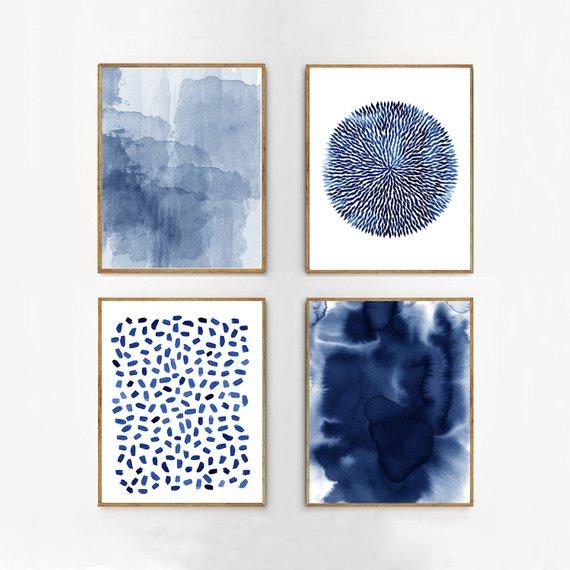 Abstrait aquarelle ensemble Indigo bleu mur art grand marine impressions minimaliste art minimal contemporain moderne art peinture éclaboussure rayures plage