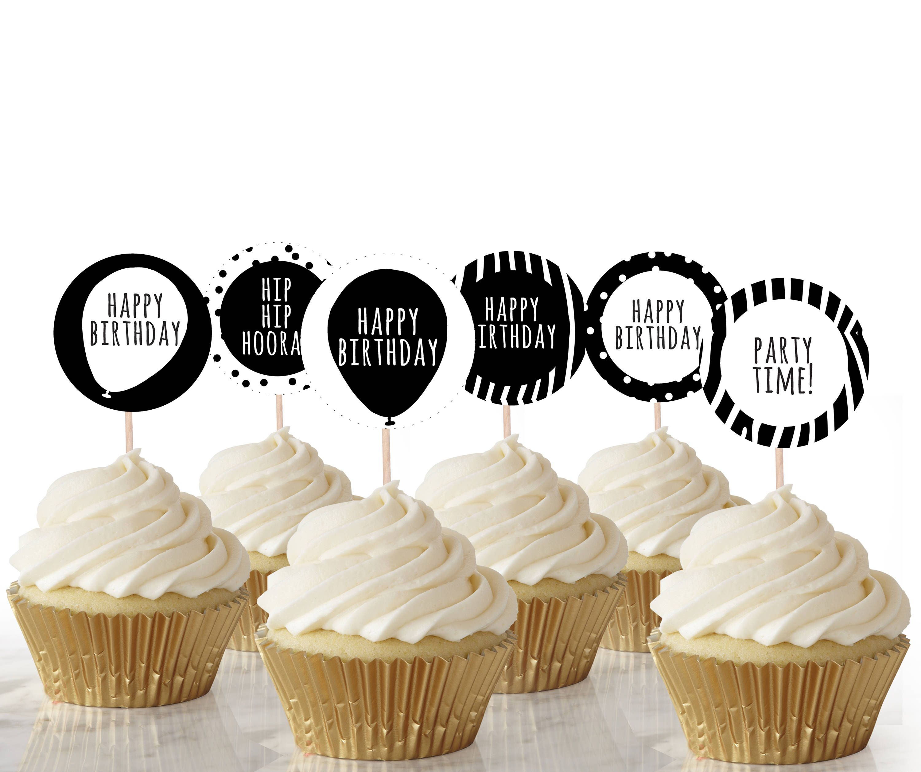 Black And White Party Cupcake Toppers Instant Download Printable Monochrome Black And White Birthday Party Cake Cupcake Topper Editable Party Cakes Cupcake Toppers Template Black And White Party Decorations