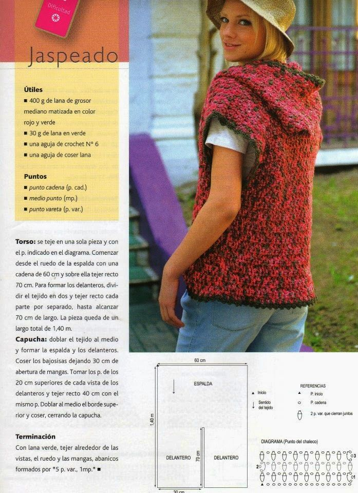 chaleco+con+capucha+sin+mangas+crochet.jpg (697×960) | coser ...